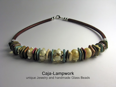 Natural colored glass bead necklace