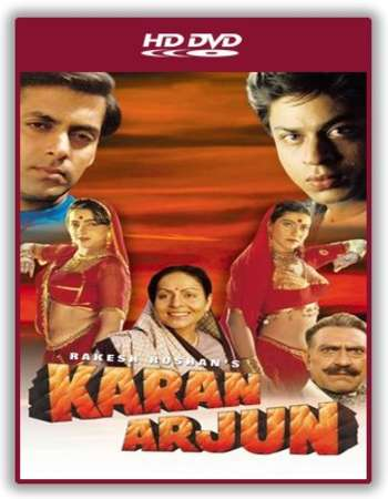 Poster Of Karan Arjun 1995 Hindi 450MB DVDRip 480p Free Download Watch Online
