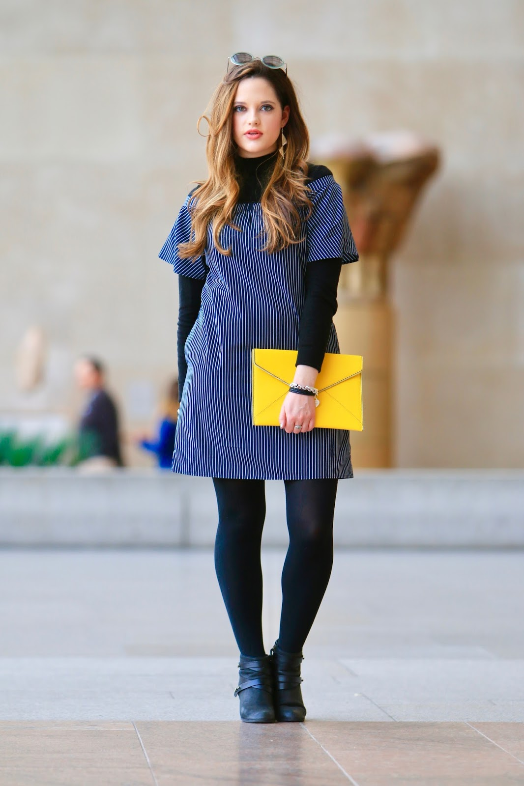 off the shoulder dress with tights
