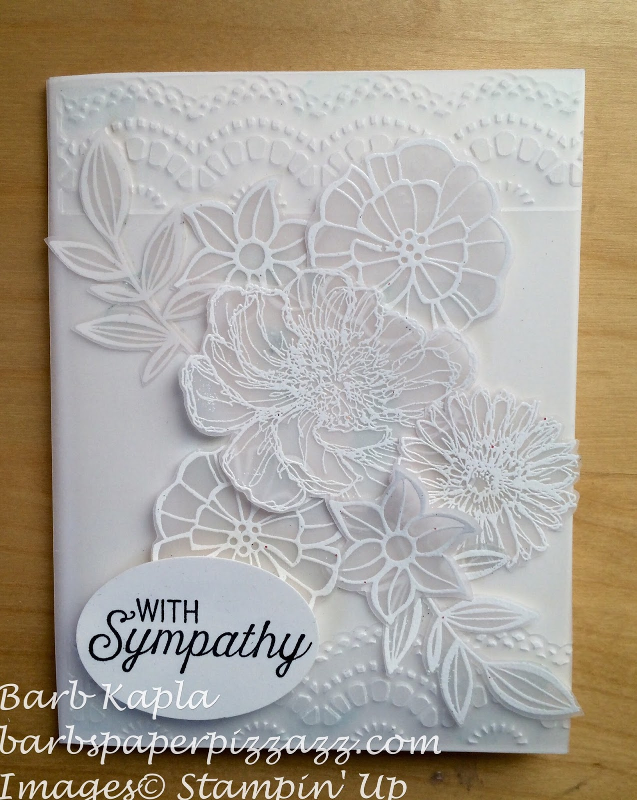 Barbs Paper Pizzazz Sympathy Card In White Vellum With White