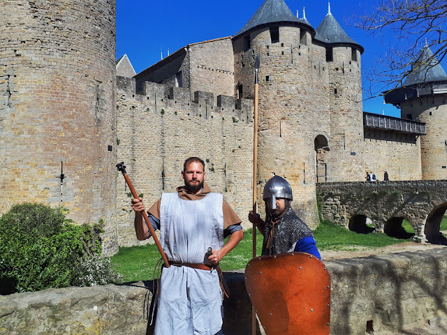 Medieval enacting at the castle inside the medieval citadel of Carcassonne
