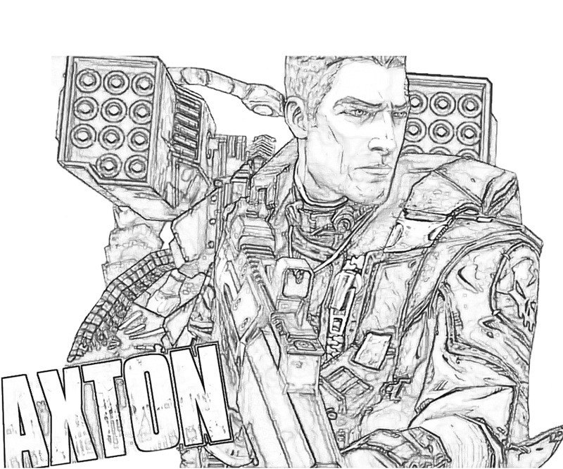 Borderlands coloring pages ~ Borderlands 2 Axton Full Weapon   Surfing