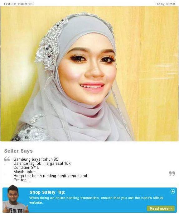 Iklan Mudah.my Pengantin Perempuan Hantaran RM15,000