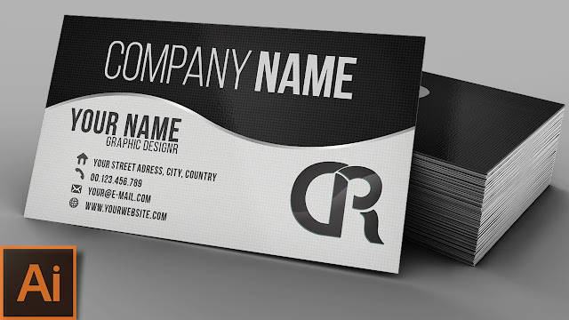 Elegant Professional Black & White Business Card — Illustrator Tutorial