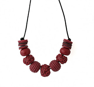 Burgundy red chunky statement necklace by Lottie Of London Jewellery