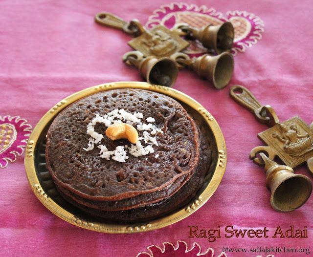 images of Ragi Sweet Adai / Kezhvaragu Sweet Adai / Ragi Pancakes / Finger Millet Sweet Pancake