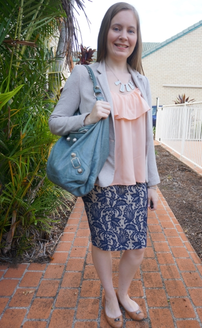 jersey blazer, peach ruffle cami and blue lace pencil skirt business casual summer office wear | awayfromblue