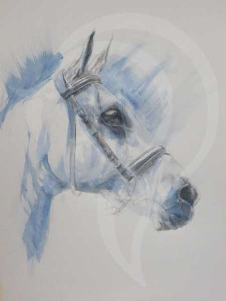 Cool As Ice, contemporary equestrian art, equine art, mixed media