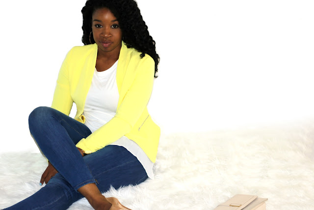 yellow blazer outfit