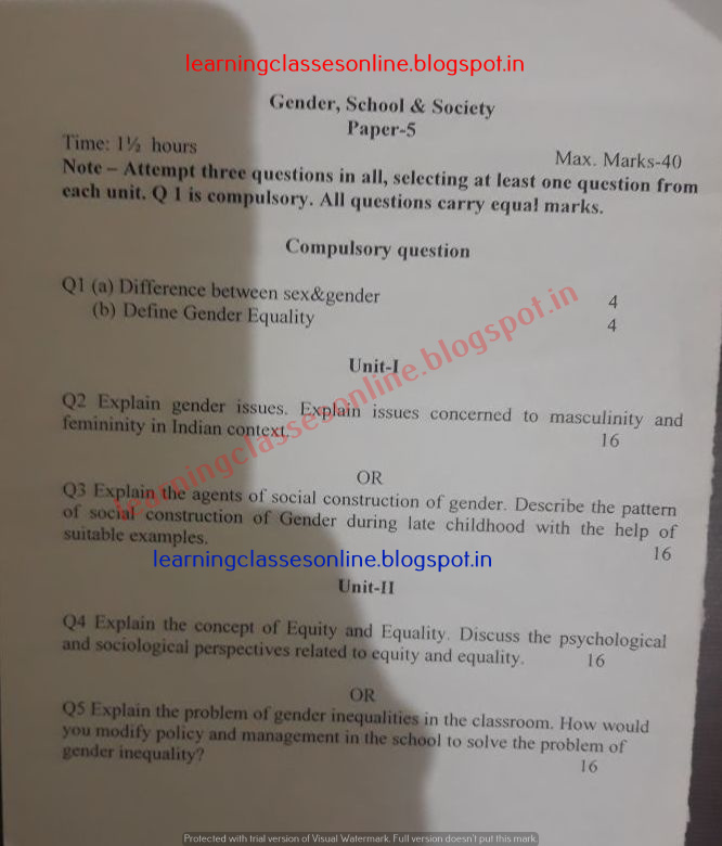 Gender school and society Model Test Sample Question papers