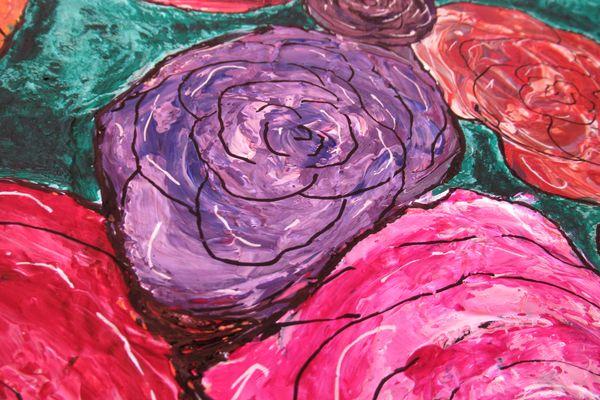 grand tableau abstrait bouquet de roses couleurs art moderne original
