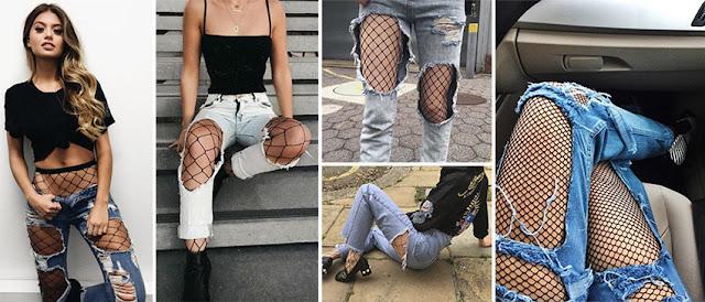 Como usar meia arrastão com jeans destroyed