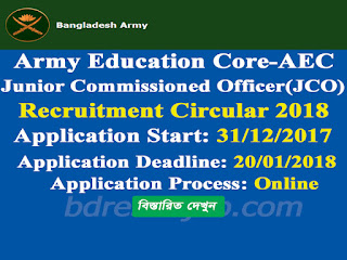 Army Education Core-AEC Junior Commissioned Officer (JCO) Recruitment Circular 2018