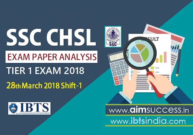 SSC CHSL Tier-I Exam Analysis 28th March 2018: Shift - 1