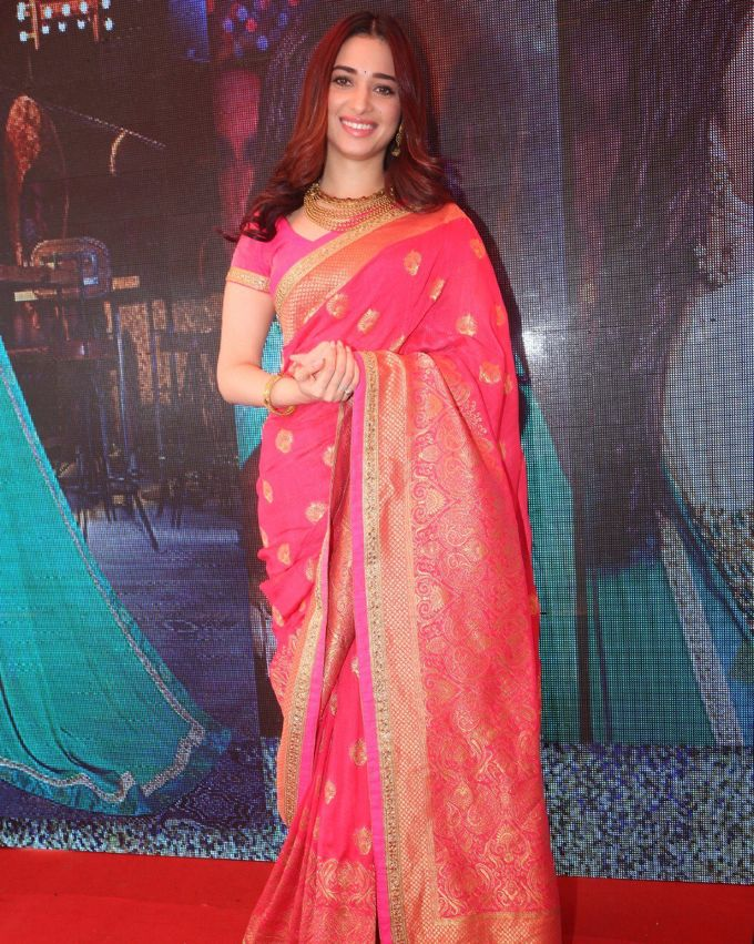Tamannaah In Hot Red Saree At Joh Rivaaj Launch