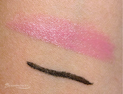 Swatch of Sephora Rouge Shine Lipstick in Love Spell and Kat Von D Tattoo Liner in Trooper