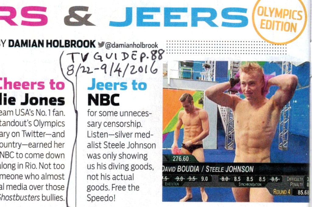 Censorship of Speedo of Olympic diver Silver medalist Steele Johnson as printed in  TV Guide Magazine Aug. 22 - Sep. 4, 2016, p. 88