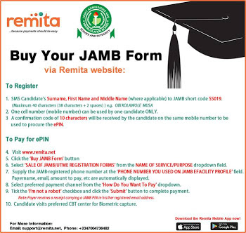 Steps on How to Buy 2018 JAMB PIN on Remita
