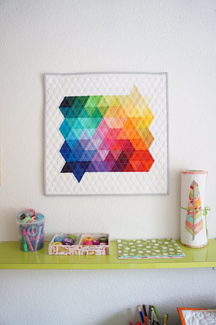 Rainbow Triangles {Mini Quilt - Giveaway}