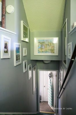 One Room Challenge Week 6 Home Office Sewing Craft Room Transformation staircase art photo frame gallery wall