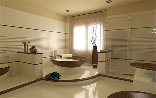 Hogares frescos dise o minimalista en ba o moderno con muebles de madera con estilo - Cuartos de bano con estilo ...