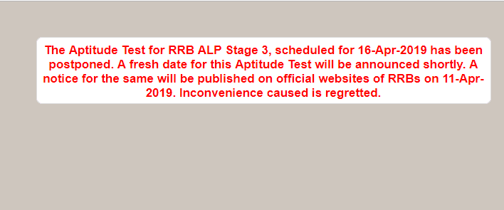 RRB postponed ALP Stage Exam