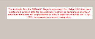 RRB has postponed ALP Stage -3 Aptitude (Psycho) Test - Check Now