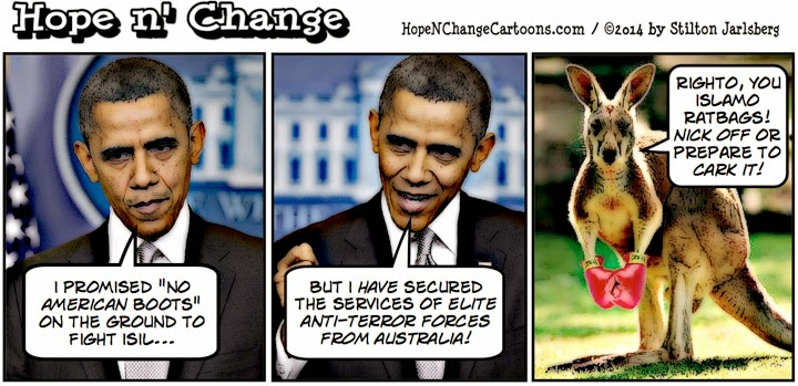obama, obama jokes, political, humor, cartoon, hope n' change, hope and change, stilton jarlsberg, australia, terror, kangaroo, ISIS, ISIL