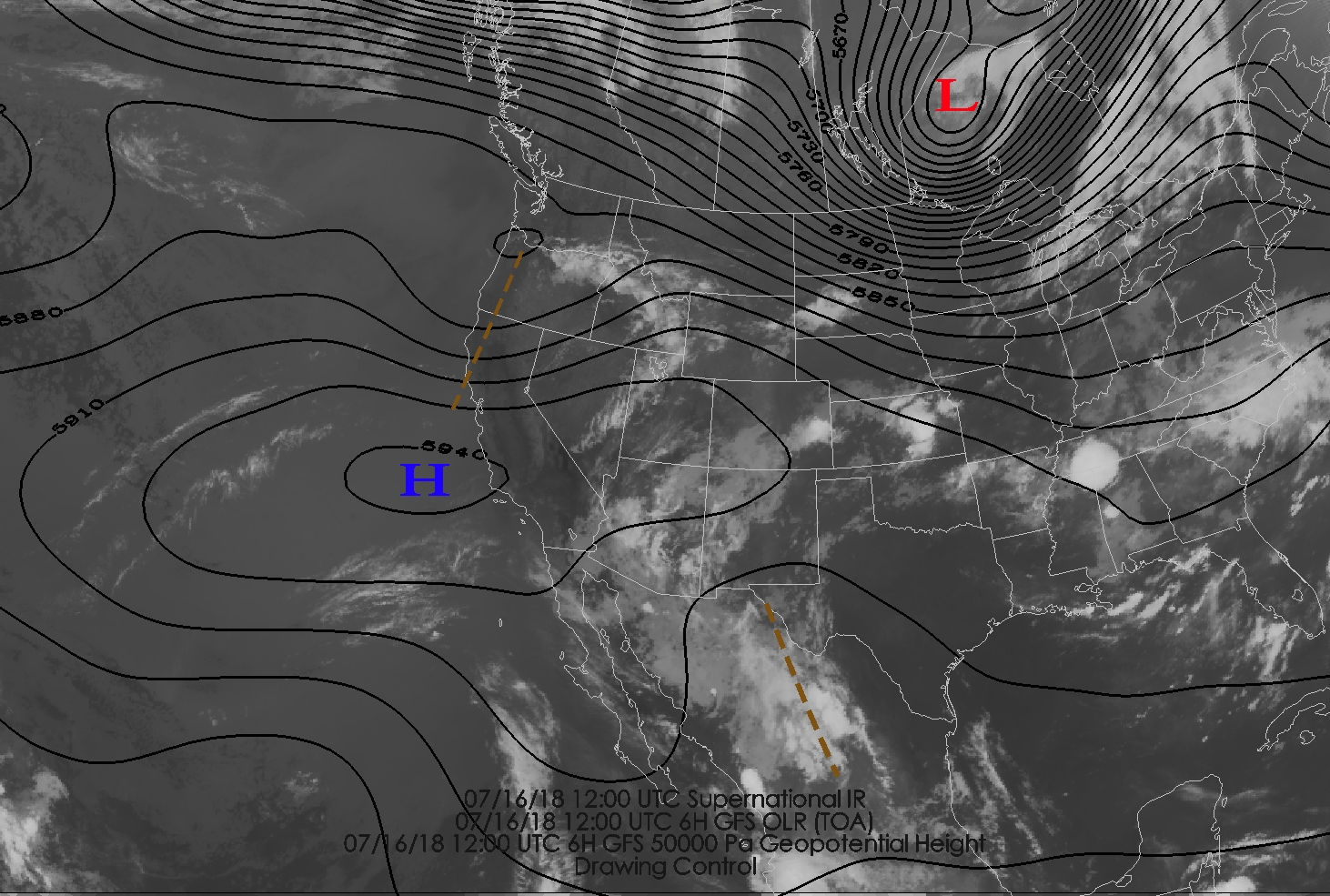 such a pattern is not unusual in july although in this case the anticyclone is centered west of its climatological mean position over southern new mexico