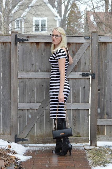 Black and white striped bodycon dress- day to night fashion | all dressed up with nothing to drink...