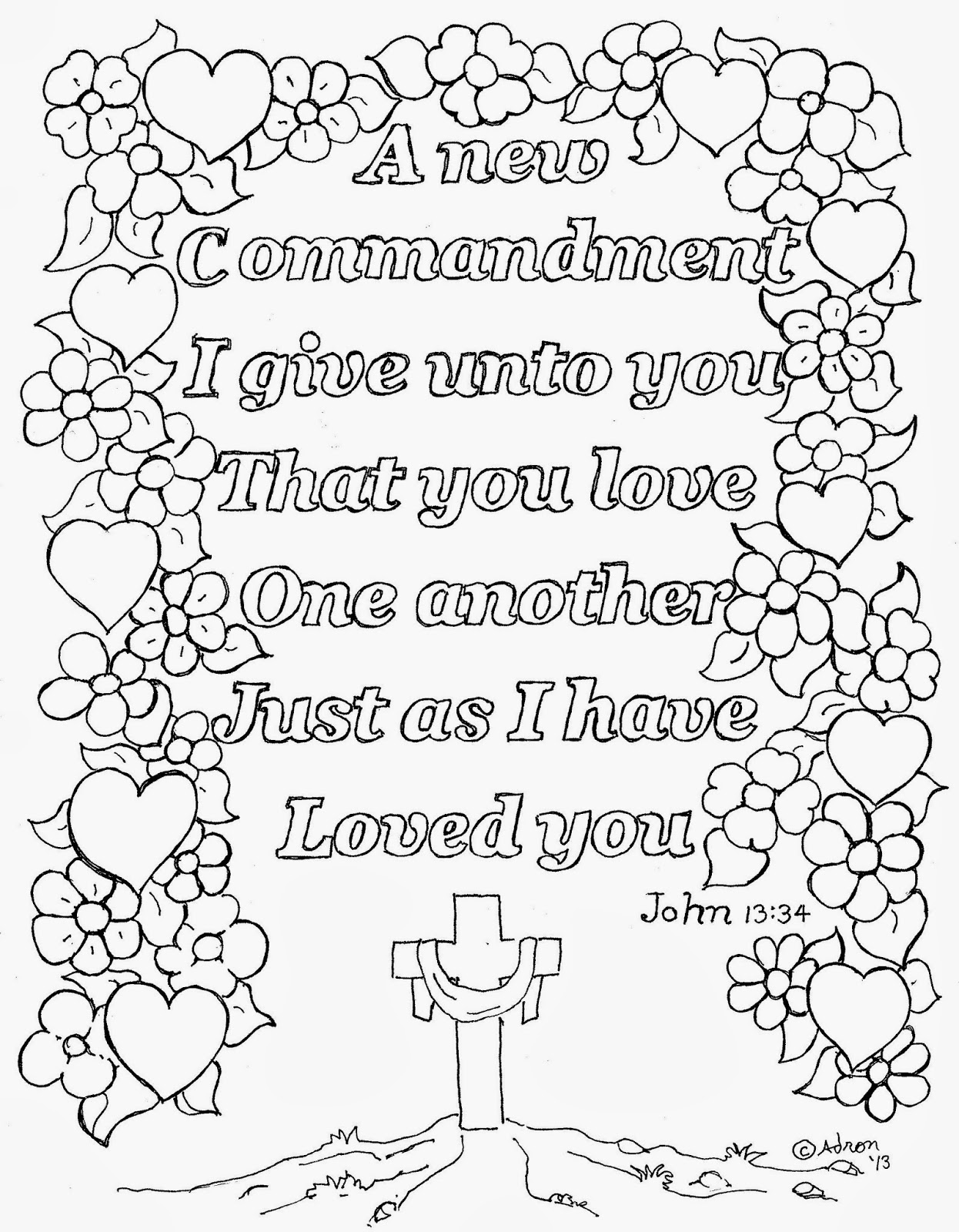 Coloring Pages For Kids By Mr Adron Love One Another Coloring Page John 13 34 Free To Print
