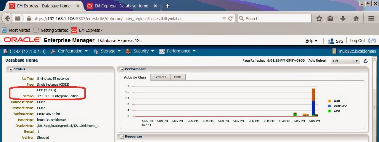 Oracle Database 12c: Managing containers in EM express