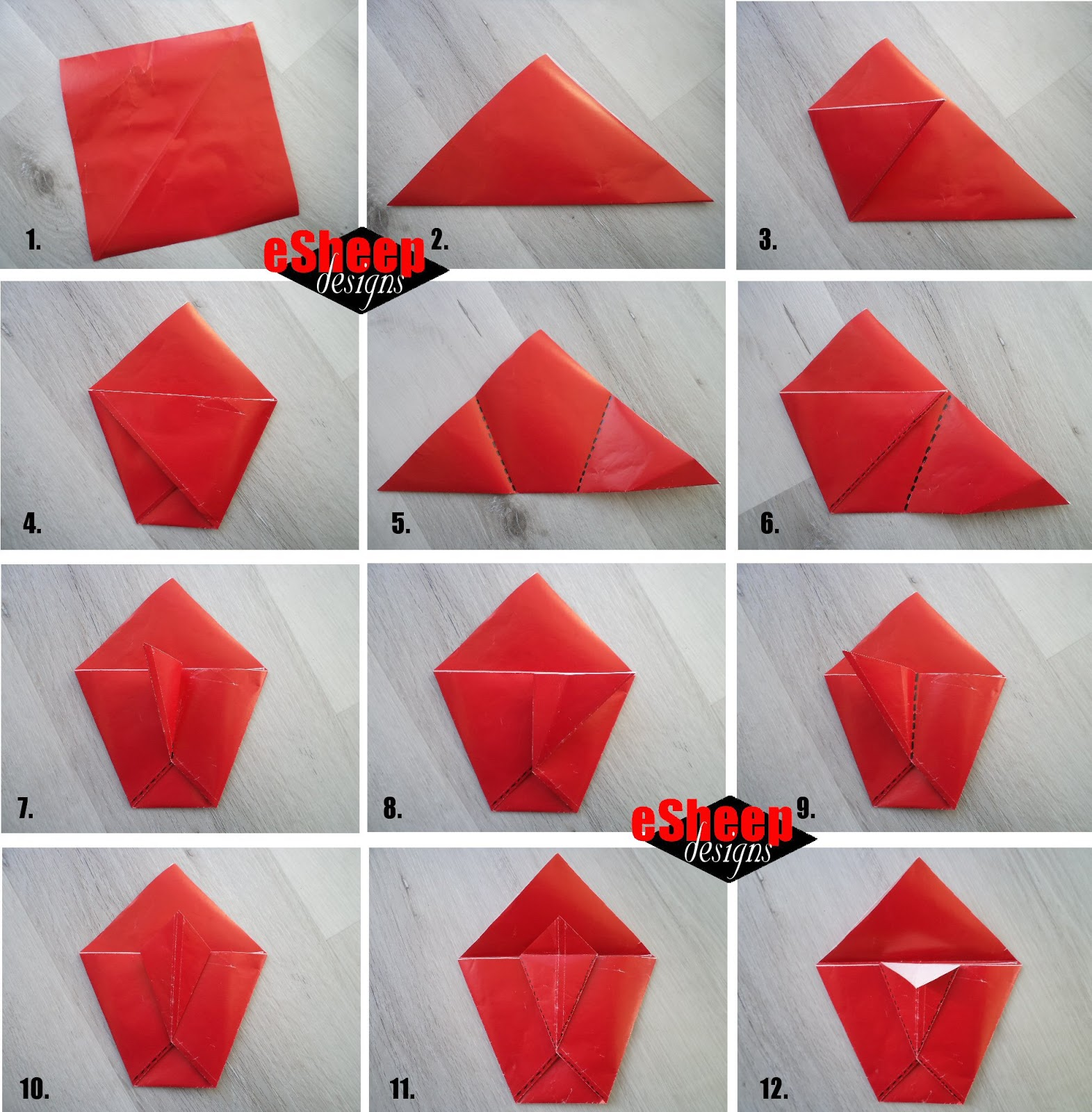 How to make an Origami Gift Bag - Instructions in English (BR ... | 1600x1571