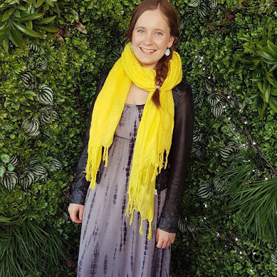 awayfromtheblue instagram yellow blanket scarf leather jacket winter layers on summer tie dye maxi dress