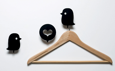 birds and heart hooks - black