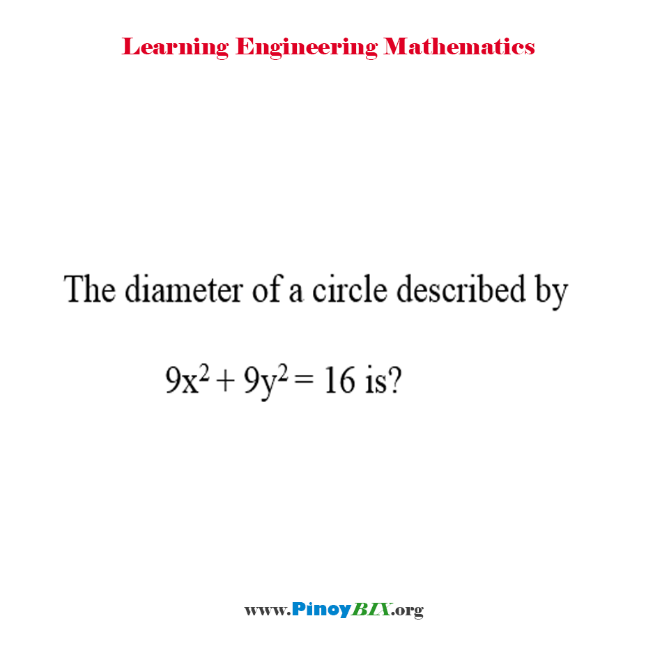 The diameter of a circle described by 9x^2 + 9y^2 = 16 is?