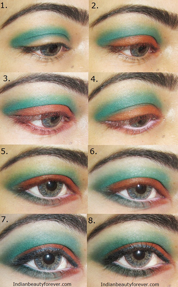 tutorial Eye makeup Orange and green