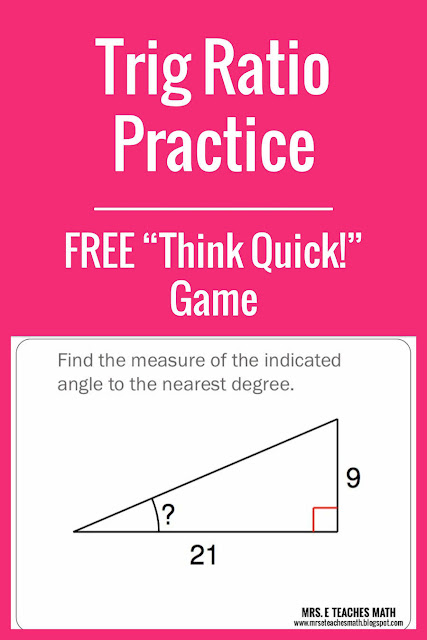 This trig ratio game is a fun way for students to practice finding sides and angles.  It's great for high school geometry.