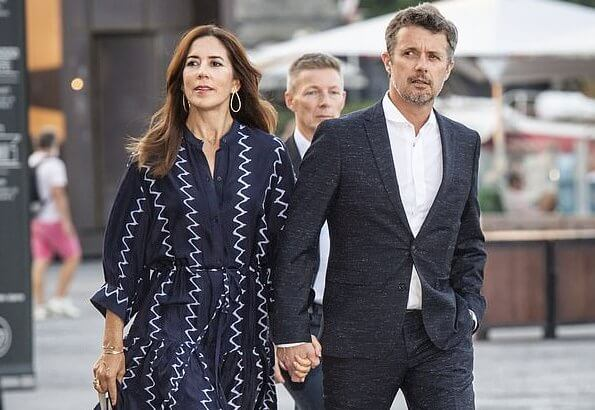 Apiece Apart Dunegrass. Crown Princess Mary wore a zigzag printed shirt dress by Apiece Apart. and Alexandre Birman Braided sandals