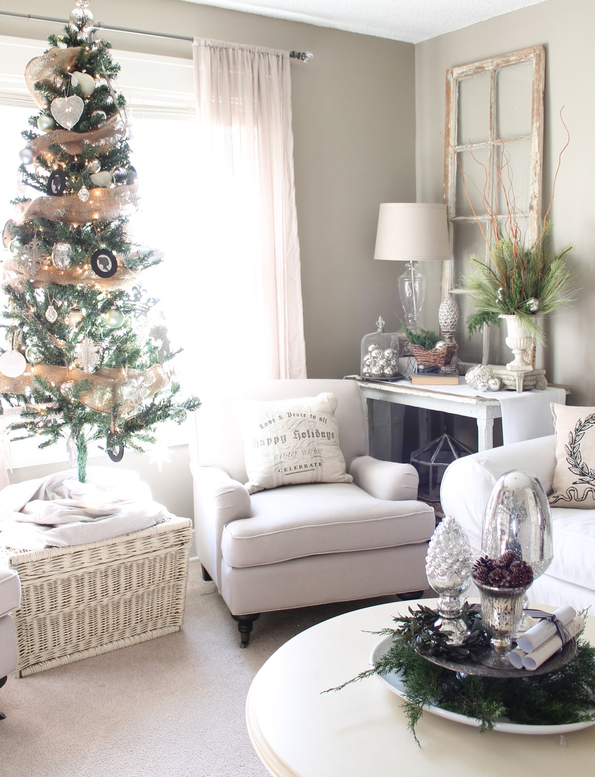 12th and white our christmas living room part 2 - How to decorate living room for christmas ...