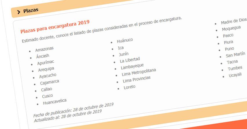 MINEDU: Plazas para Encargatura Docente 2019 (Nivel Nacional) www.minedu.gob.pe