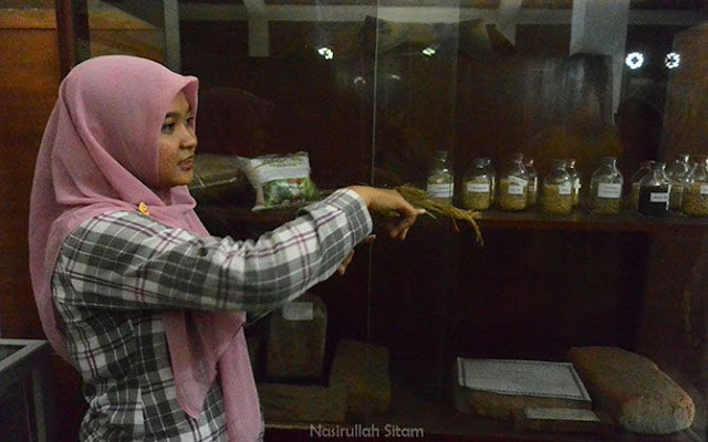 Perempuan ini menerangkan tentang Museum Tani Jawa Indonesia