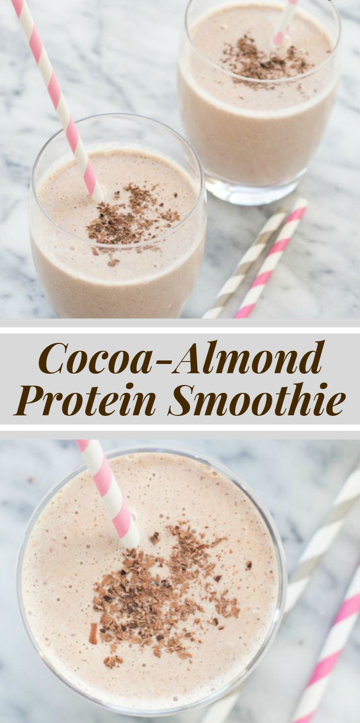 Cocoa Almond Protein Smoothie #healthydrink #highprotein