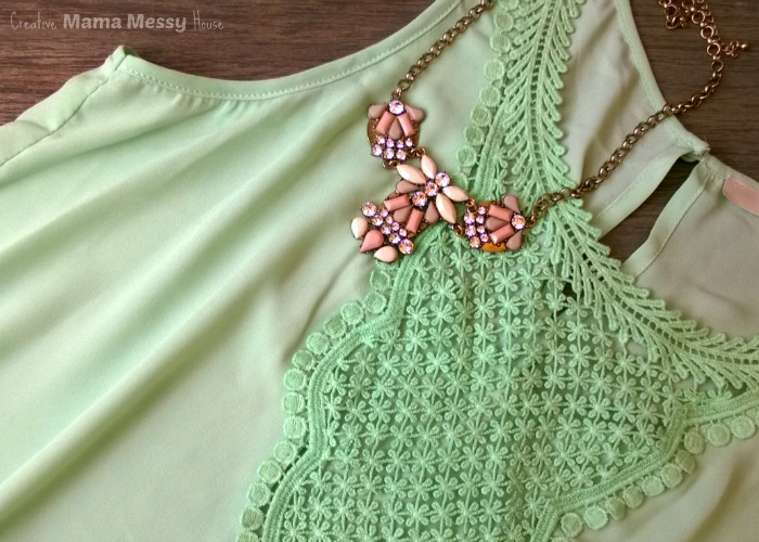 Pretty pastels for Spring! Tavek Crochet Bib Blouse and Leilani Statement Necklace, April Stitch Fix review.