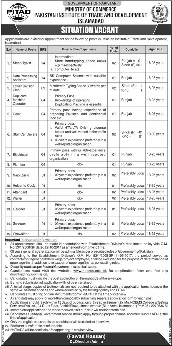 Advertisement for Pakistan Institute of Trade and Development Jobs 2019