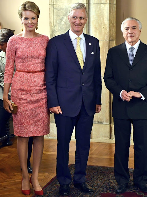 Queen Mathilde met with Brazil's President Michel Temer at Itamaraty Palace NGO Kiyo in Rio de Janeiro