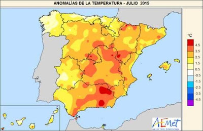 Anomalías de temperatura Julio de 2015