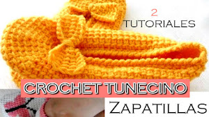 Crochet Tunecino ♥ Zapatillas de Descanso / Tutoriales