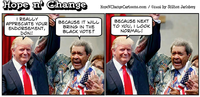 obama, obama jokes, political, humor, cartoon, conservative, hope n' change, hope and change, stilton jarlsberg, trump, don king, election, endorsement