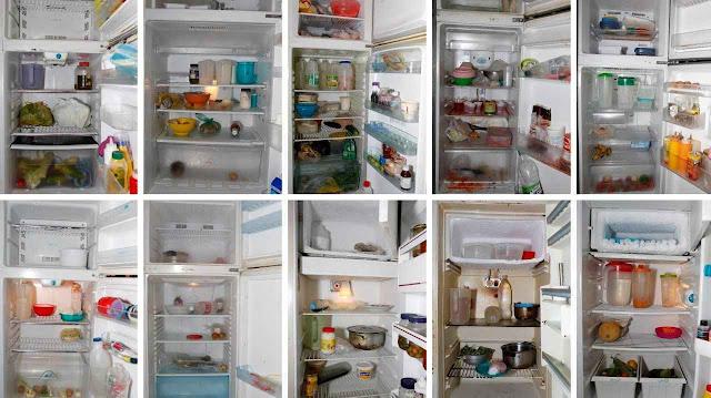 Fotógrafo flagrou o que está ficando na geladeira dos venezuelanos típicos. Itens corriqueiros como refrigerantes há tempo desapareceram.